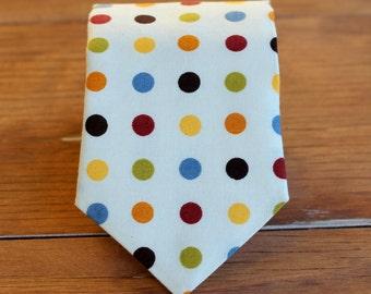 SALE Save 20% - Boys Necktie - polka dot on cream cotton boys necktie - child size - boys wedding necktie - first birthday tie