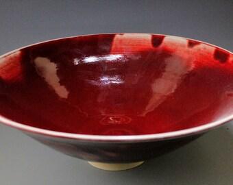 Large red serving bowl