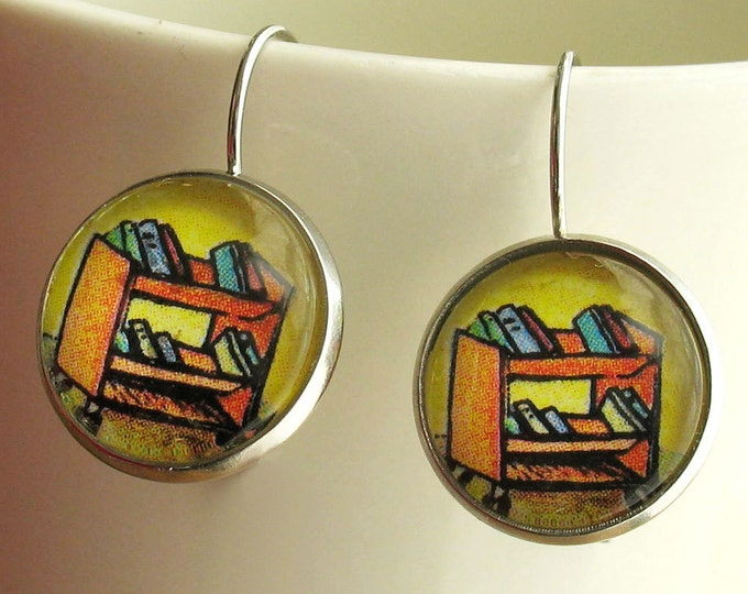 Library Cart Earrings Librarian Book truck Jewelry Literary Theme