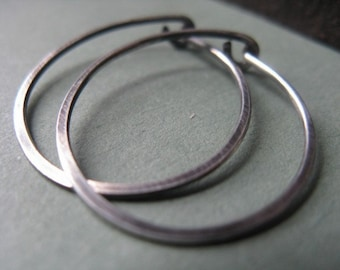 Hammered Hoop Earrings Sterling Silver