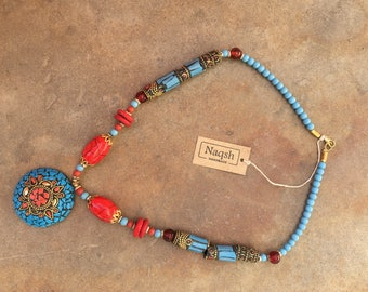 Handmade multicolored beaded necklace