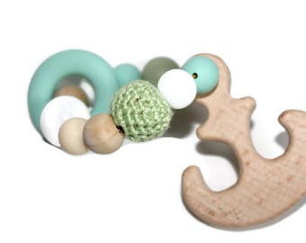 nautical, teether toy, teething toy, teething ring, wooden teether, wooden teether ring, wooden toy, baptism gift, christening gifts, baby