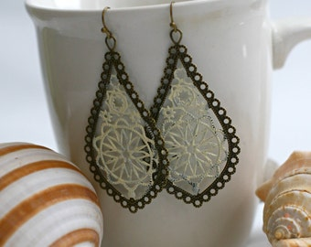 Lightweight Hand-painted  Boho Brass Filigree Dangle Earrings