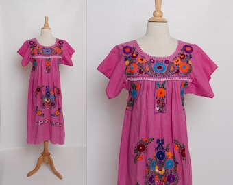vintage 1970s Oaxacan dress | 70s embroidered floral pink dress