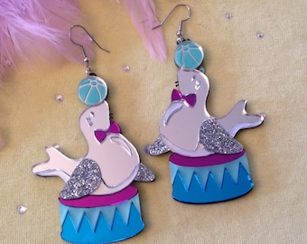 Circus Seal with Ball Earrings, Glitter Mirrored, Laser Cut Acrylic, Plastic Jewelry