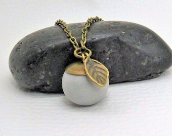 Necklace concrete ball with leaf Vintagebronze gift