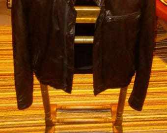 Vintage Berman's leather 1970s Cafe Racer black leather motorcycle jacket in excellent condition mens size 36 or women's medium roughly