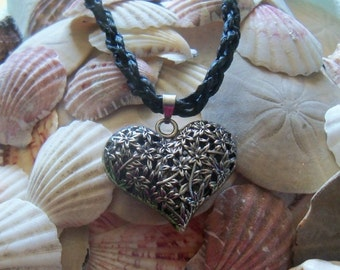 Silver Heart of Flowers Necklace