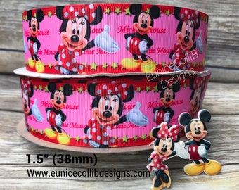 """1.5"""" minnie and micky inspired  grosgrain ribbon"""