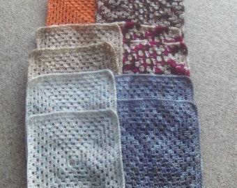 Set of 12, granny, squares,supplies,crafts,crocheted,12 x 12 ,afghans,lapghan,bags