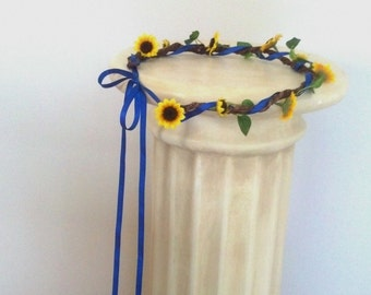 Royal Blue Sunflower flower crown Bridal headpiece ready ship Barn Wedding accessories hair wreath mini sunflowers blue ribbon summer halo
