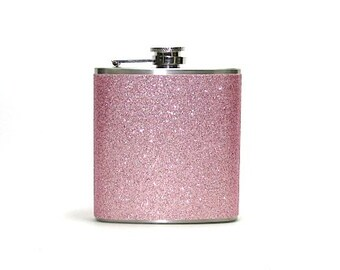 Champagne PInk Sparkly Glitter 4, 6 or 8 oz Size Stainless Steel Liquor Hip Flask Flasks Weddings Bridesmaids Gift Idea