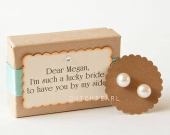 Real pearl studs earrings for Bridesmaids - Bridesmaid gift - Gifts for Bridesmaids -  Genuine pearls