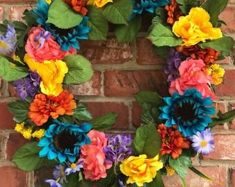 Summer Wreath, Floral Wreath, Grapevine Wreath