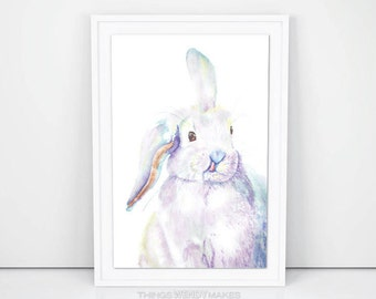 Original Watercolor Bunny Painting