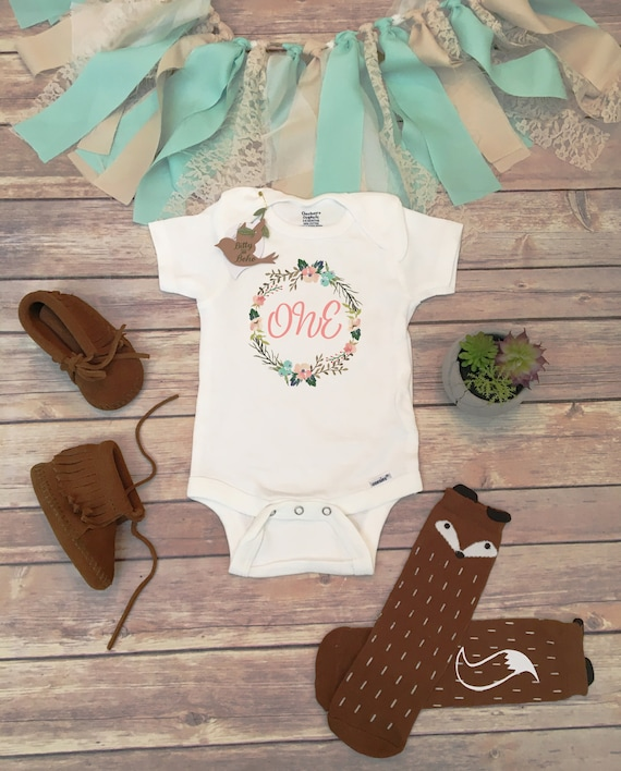 One Baby Bodysuit First Birthday Outfit Girl Birthday