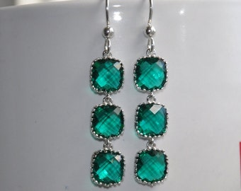 Emerald Green Earrings, Sterling Silver Earrings, Green Glass Stone Earrings,  Dangle Earrings,  Bridal Jewelry