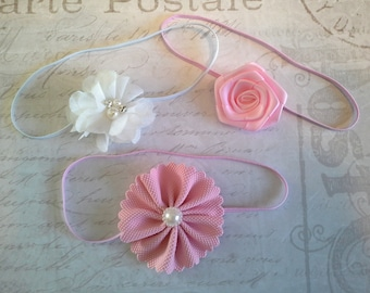 set 3 headbands, baby headbands, newborn headbands, baptism headband, flower headbands, vintage headbands, dainty headbands, pink headbands