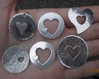 """Sterling Silver Heart Pendant 1"""" size-You choose which one"""