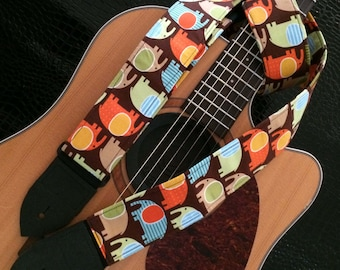 Elephant guitar strap // cool guitarist gift multi-coloured on a brown background // suits acoustic, electric, bass guitar // unique gift