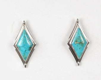 Candelaria American Turquoise (Zachery Treated) Inlay Sterling Silver Post Designer Earrings (ER10)(A)
