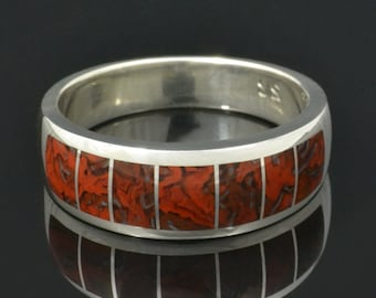 Dinosaur Bone Ring with Swirling Red Pattern In Sterling Silver, Dinosaur Bone Ring, Men's Rings