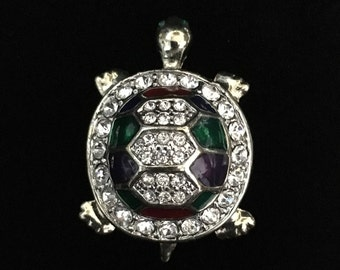 Vintage Rhinestone/Enameled Turtle Brooch (JT2)