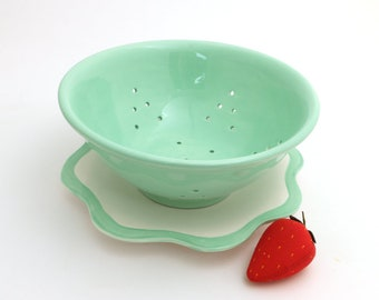 Berry Bowl ,  Ceramic Collander , in seafoam mint green