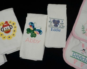 personalized burp cloth, monogrammed burp cloth, Baby Shower gift, baby gift, embroidered burpee, embroidered burp cloth,