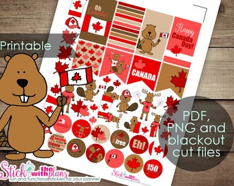 Canada Day Moose and Beaver Printable Hand-Drawn Planner Stickers for Happy Planner, Erin Condren Planners