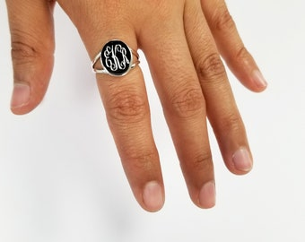 Sterling Silver Oval Plain Monogram Ring