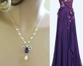 Purple Wedding Necklace Swarovski Crystal Plum Wisteria Regency Teardrop Pearl Grape Bridal Jewelry Aubergine Wedding Eggplant Orchid Bridal