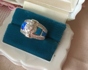 Antique Art Deco vintage Sterling Silver White Sapphire and Opal Dress Ring size P