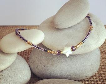 Starfish anklet, mermaid anklet, purple anklet, surf anklet, bridal anklet, dainty anklet, beaded anklet, boho anklet, , ankle bracelet