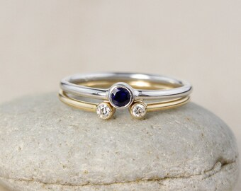 Two-Toned Stackable Birthstone Rings – Dual Stone Ring, 10K Gold