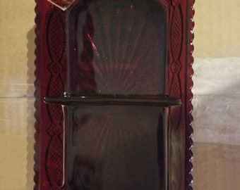 Avon Ruby Red 1876 CAPE COD Collection Divided Condiment/Relish Dish.