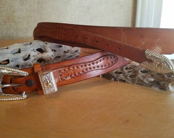 Vintage Wood Buffalo Lucia Leather Belt with Conchos