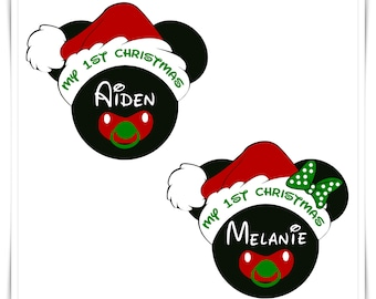 Disney Inspired Christmas Magnets. My 1st Christmas Mickey or Minnie Christmas Magnet. Baby First Christmas.