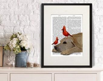 Yellow Labrador Art Print - Red Cardinals - Yellow lab print yellow lab art labrador print gift for labrador lover illustration wall decor