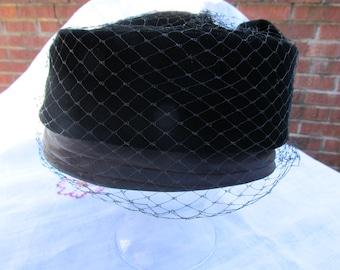 Hat - Black Velour - Pillbox - Vintage