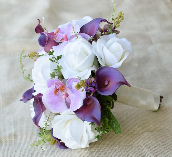 matrimonio viola mix di orchidee callas e rose fiore di seta. Black Bedroom Furniture Sets. Home Design Ideas