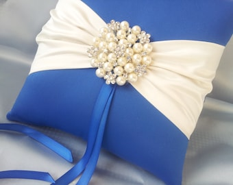 Royal Blue Ivory Ring Bearer Pillow Pearl Rhinestone Accent Ring Pillow