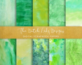 Digital Scrapbook Paper - Green Fields Watercolor Style - 10 Papers in .JPEG File - INSTANT DOWNLOAD