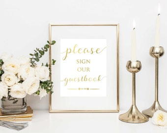 Please Sign Our Guestbook- Guestbook Sign- Wedding Sign- Wedding Guestbook- Guestbook Printable- DIY Wedding- Guestbook Print-Reception Sign