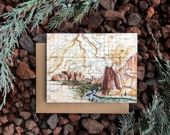 Smith Rock Greeting Card, Smith Rock Oregon painting card, Oregon desert card, map art, blank card, Bend Central OR, rock climbing hiking
