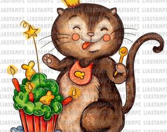 Digital stamp -Birthday Cat.  digital stamp. Birthday digi stamp. Cute digital stamp.Cat digital stamp. LiaStampz