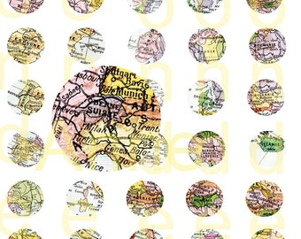 Printable map french map Printable Vintage Europe Map printable 1 inch circles Digital Collage Sheet instant download printable europe map