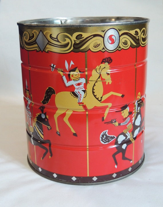 Vintage Mid Century Safeway Coffee Tin Can.. Cowboys & Indians, Carousel Graphics