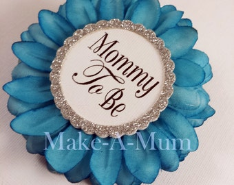 Hand-dyed TEAL, Baby Shower Corsage, baby shower favor, Mommy To be Pin, Grandma To Be, TEAL/MTB, pAPER