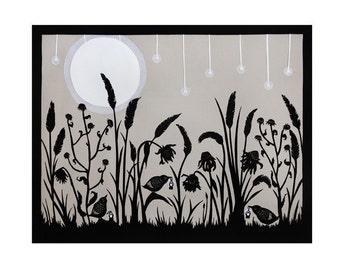 Lighting Up The Night - 8 X 10 inch Cut Paper Art Print